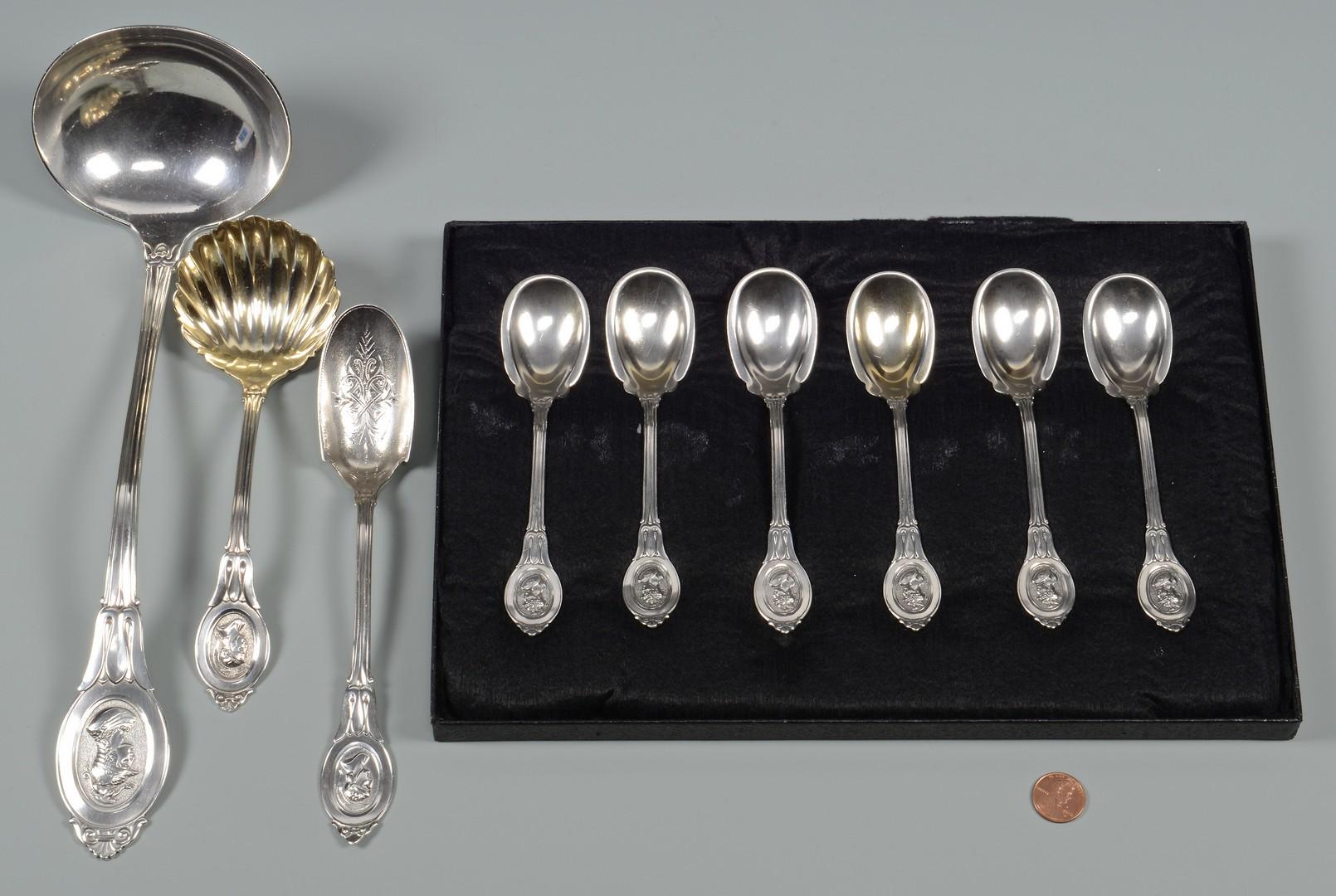 Lot 410: 9 pcs Medallion Silver Flatware inc. ice cream spo