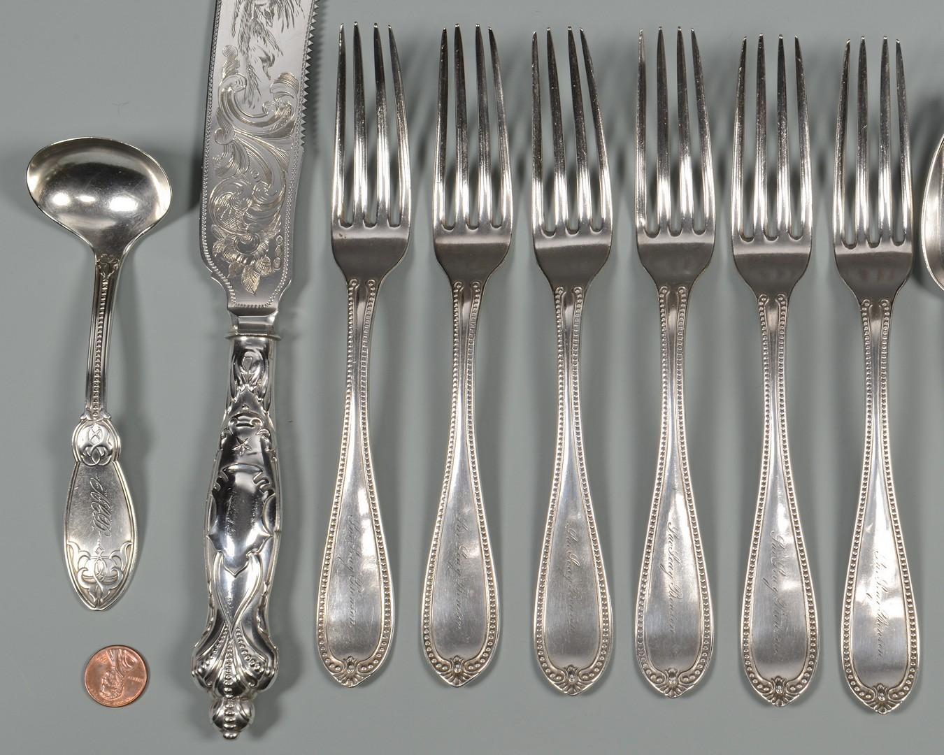 Lot 417: Coin silver dessert set inc. Nashville, 14 pcs