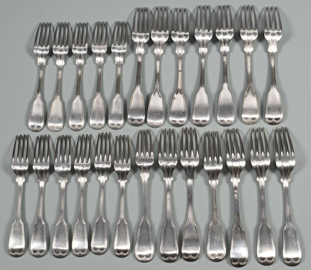 Lot 421: 19 Donigan Nashville Coin Silver Forks, plus 6