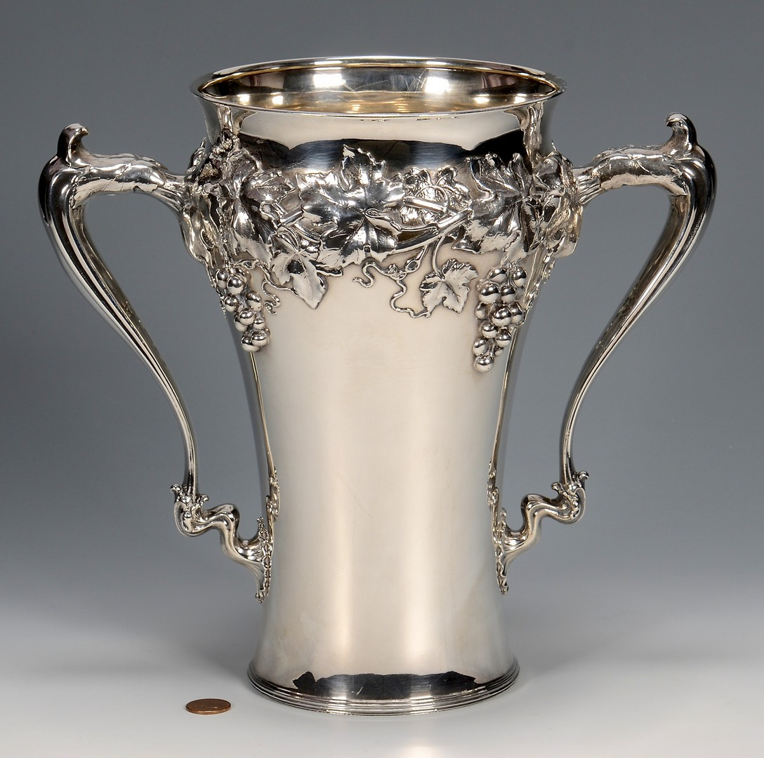 Lot 428: Large Sterling Silver Loving Cup w/ Grape Design