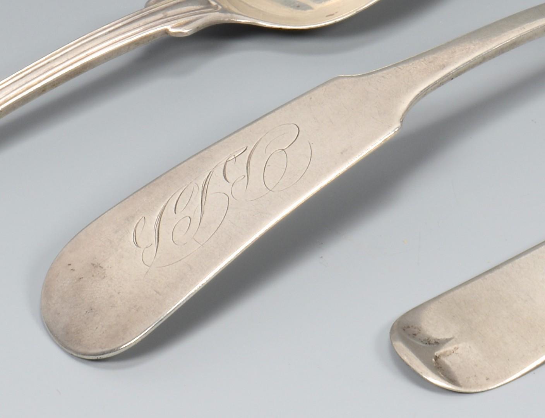Lot 42: 5 pcs. AL Coin Silver Flatware, Owen & Wright