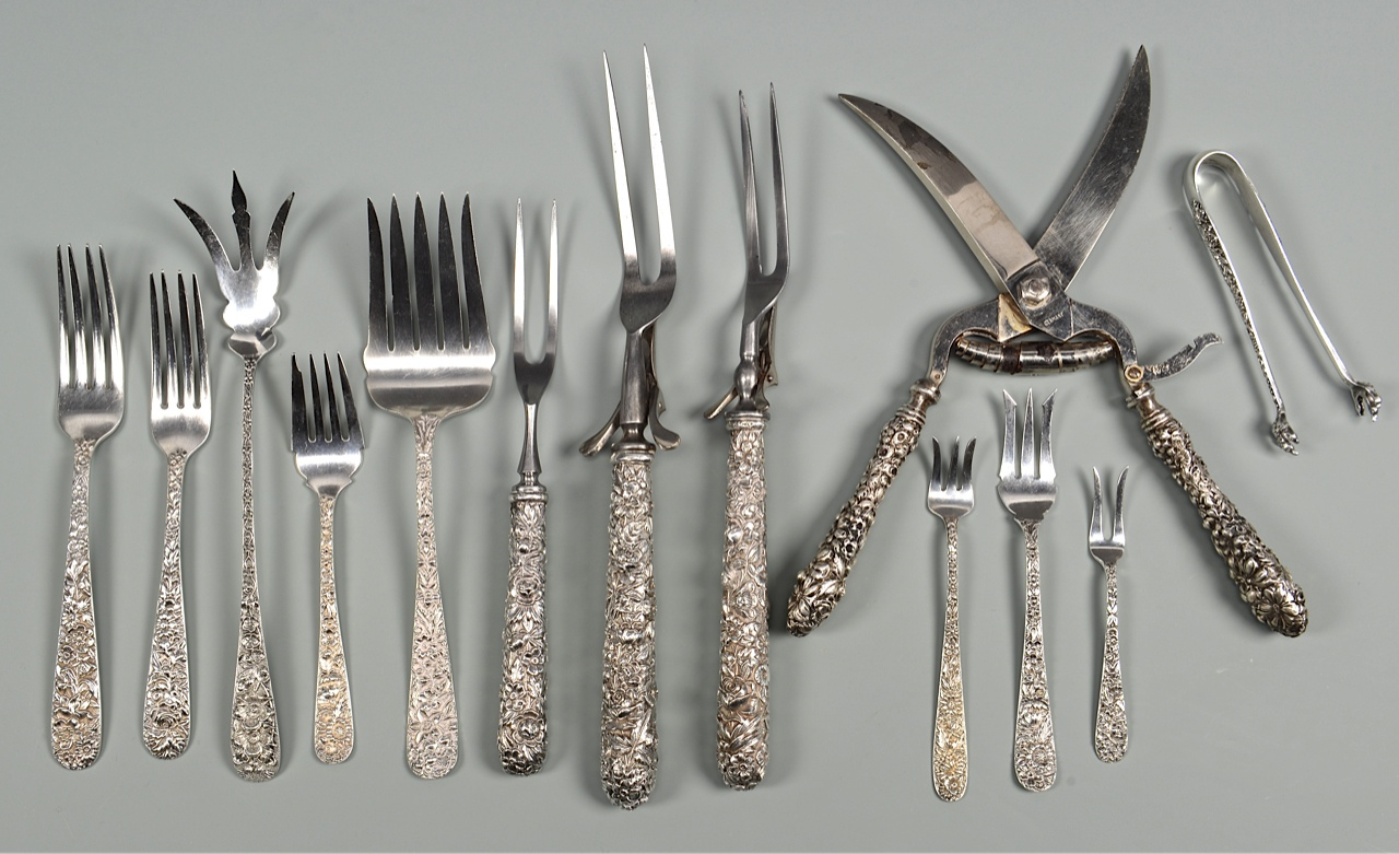 Lot 431: Kirk Repousse Sterling Flatware 169 total pcs.