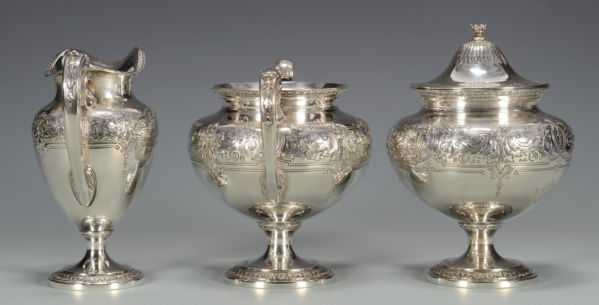 Lot 435: Reed & Barton Aesthetic Style Sterling Tea Set, 5 pcs.