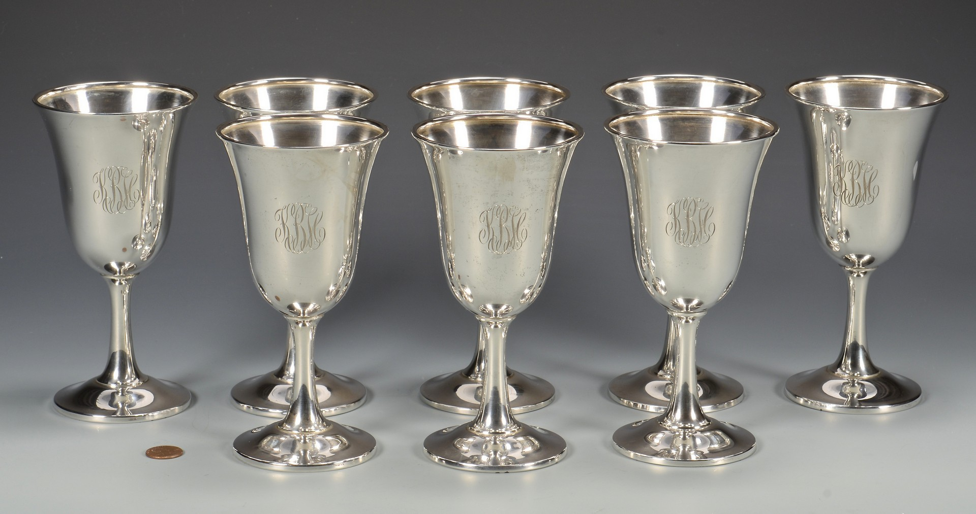Lot 436: 8 Wallace Sterling Silver Water Goblets