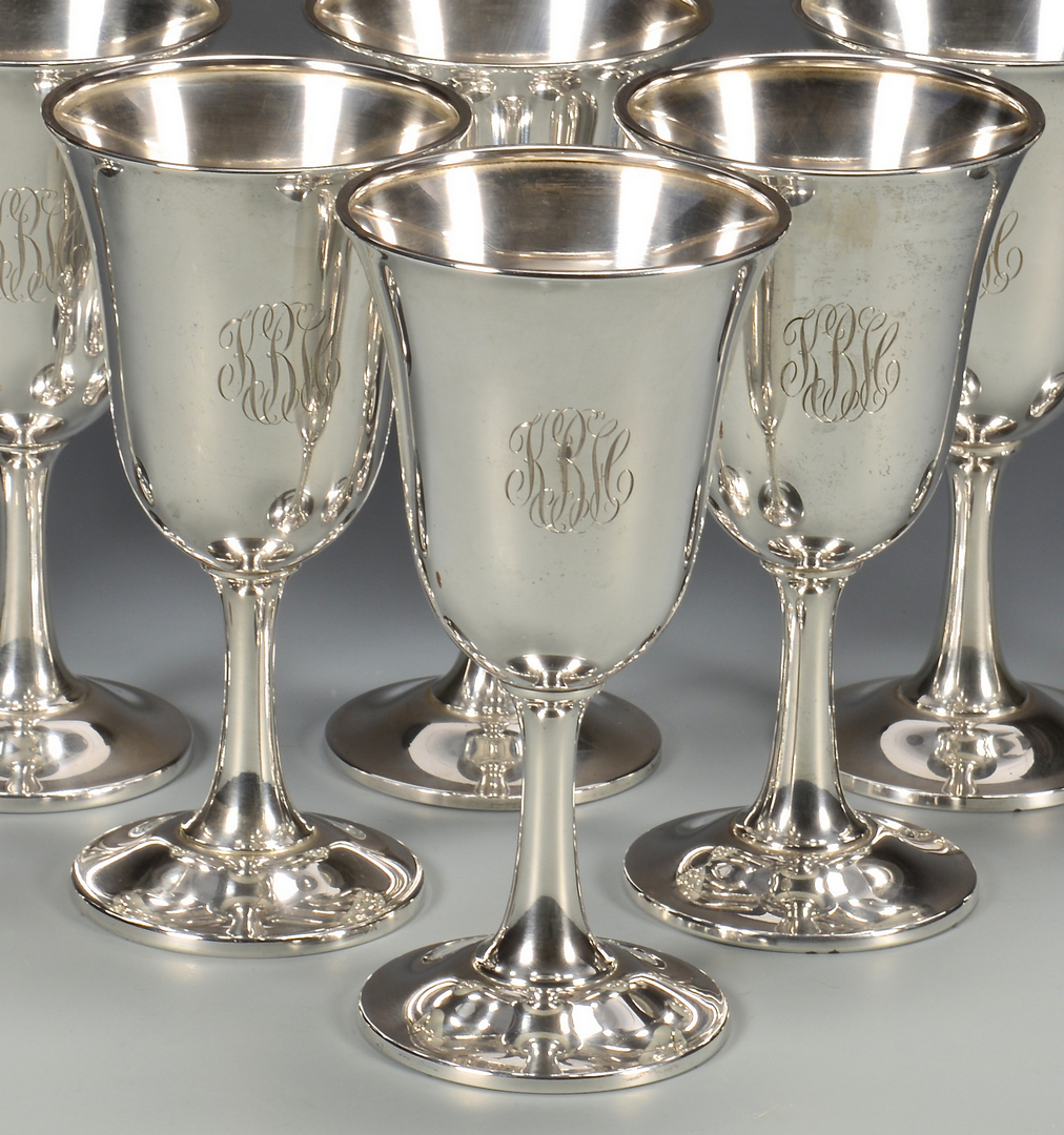 Lot 436 8 Wallace Sterling Silver Water Goblets