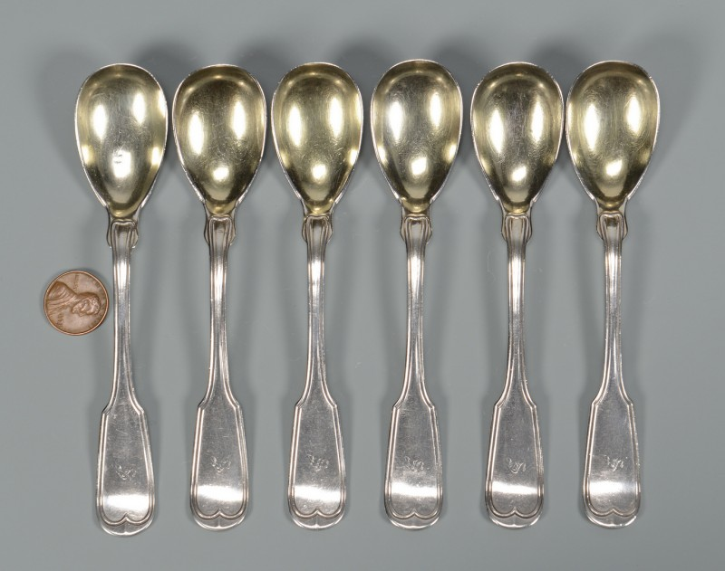 Lot 43: 6 Mobile Coin Silver egg spoons