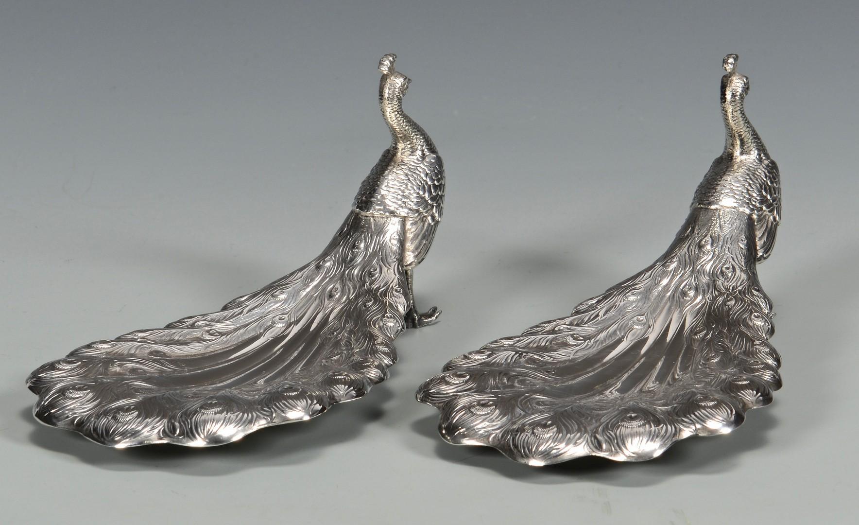 Lot 443: Pair Gorham Sterling Figural Peacocks