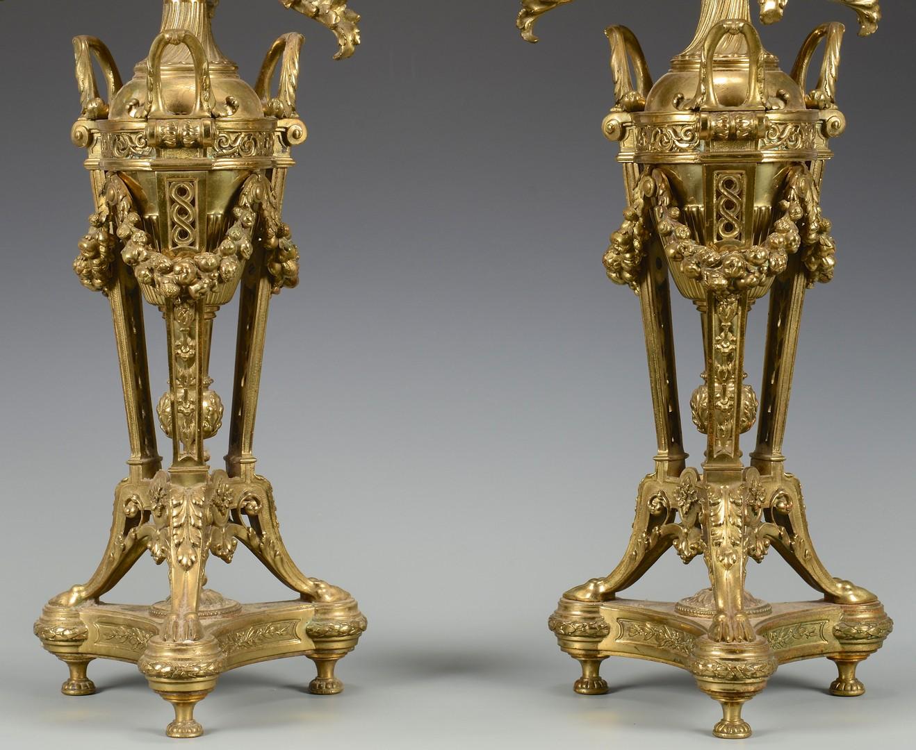 Lot 446: Pr. Empire Style Ormolu Candelabra w/ Cherubs, Paw feet
