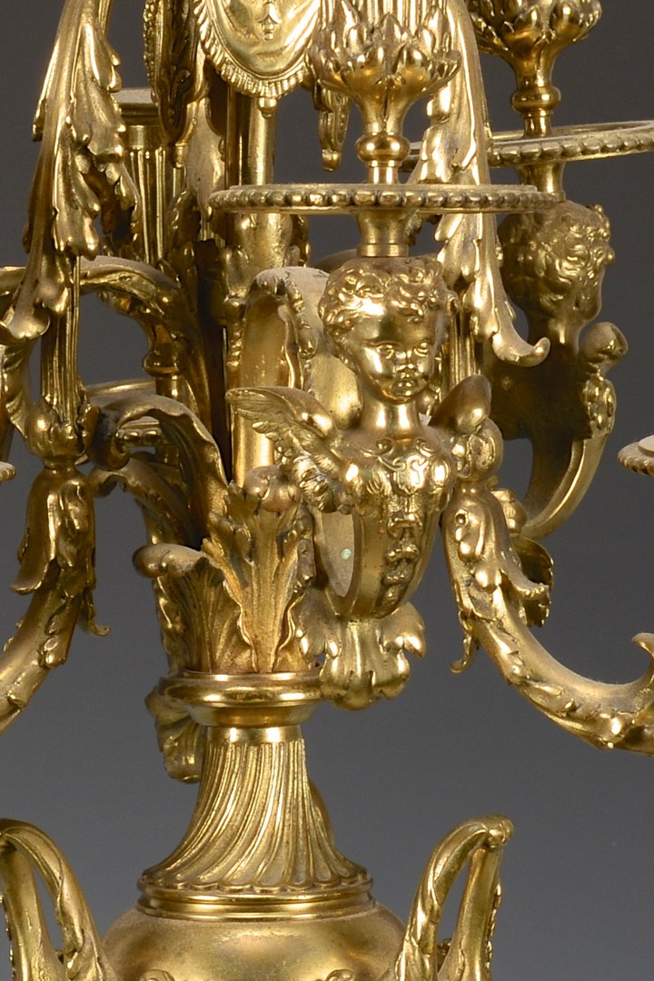 Lot 446: Pr. Empire Style Ormolu Candelabra w/ Cherubs, Paw feet