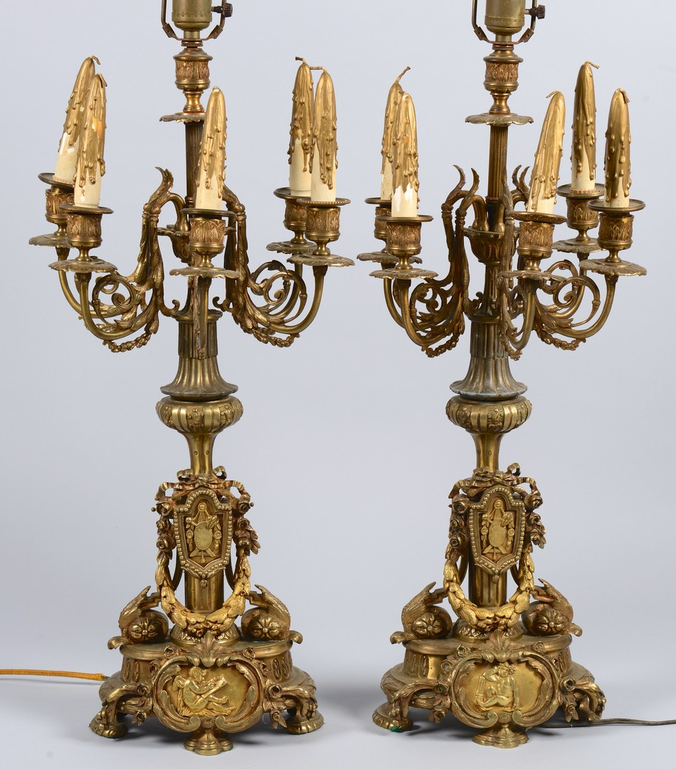 Lot 447: Pr. Bronze French Candleabra Lamps