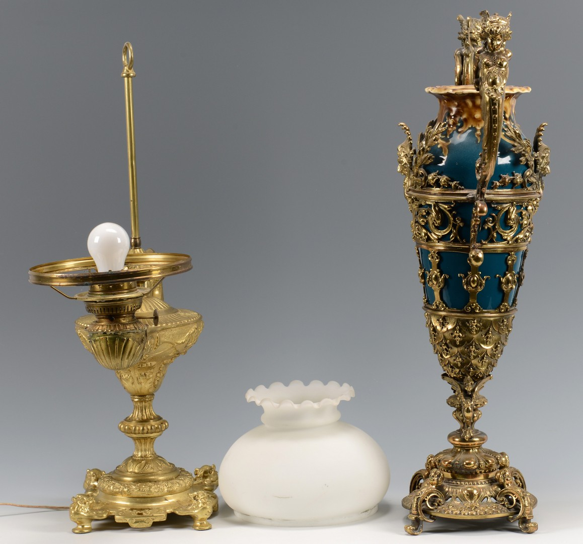 Lot 448: Bronze Genie lamp and mounted vase