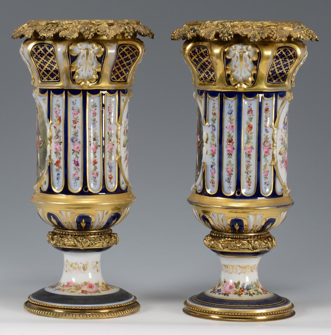 Lot 451: Pr. Bronze Mounted Porcelain Urns