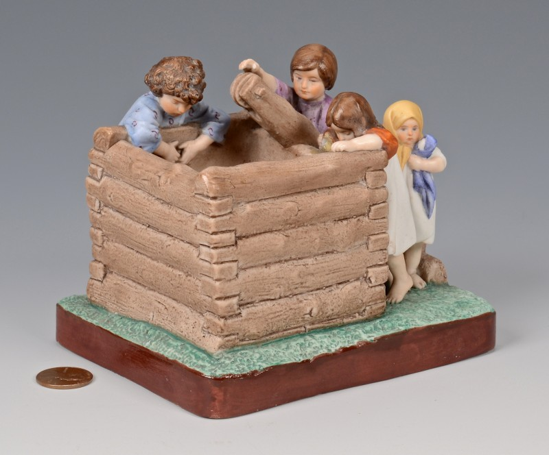 """Lot 453: Imperial Porcelain, Russian Gardner """"Children at the Well"""""""