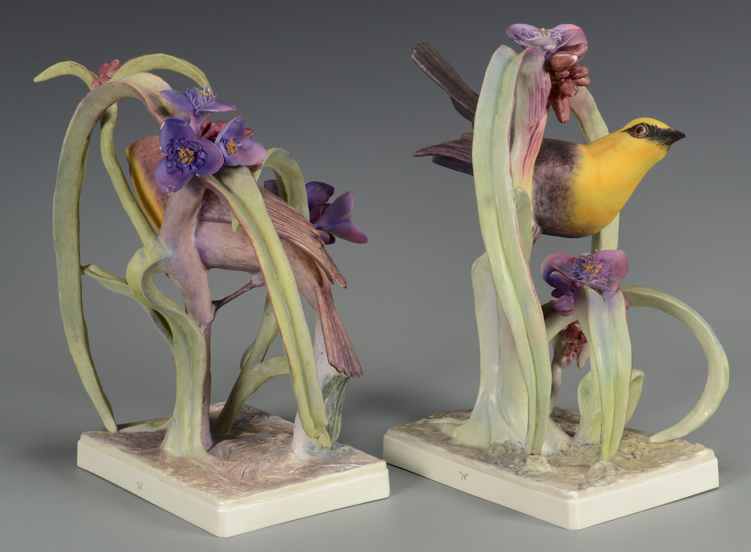 Lot 457: Pr Dorothy Doughty Birds, Yellow Headed Blackbirds