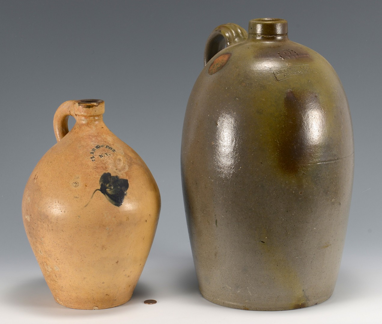 Lot 474: 2 Stoneware Pottery Jugs, 1 Southern
