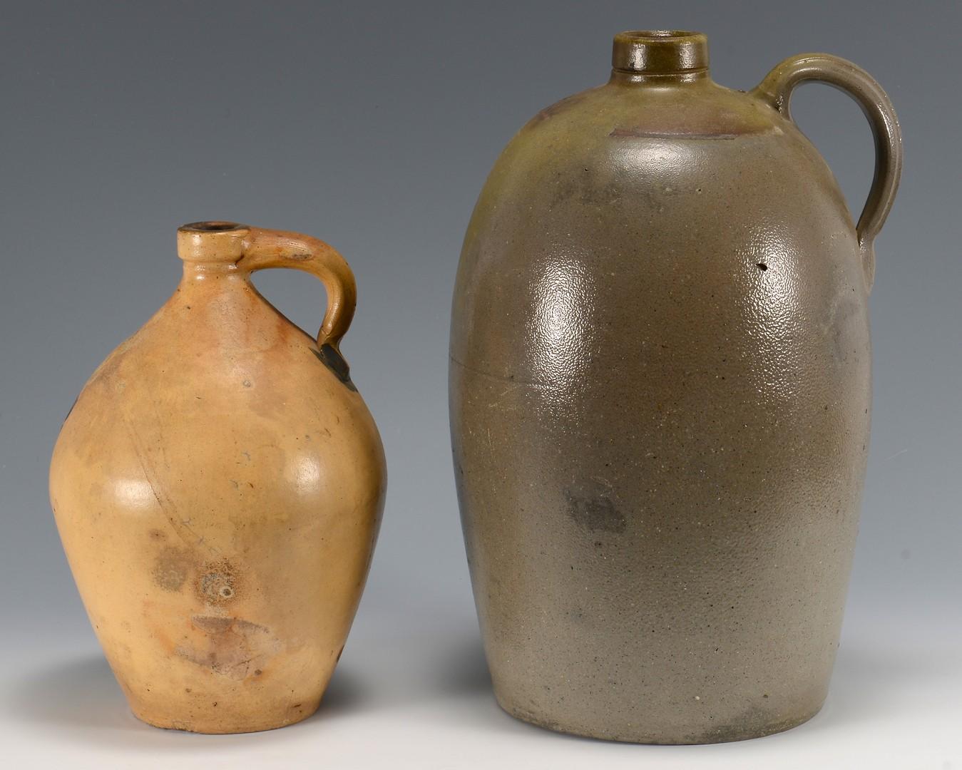 Lot 474: 2 Stoneware Pottery Jugs, 1 Southern
