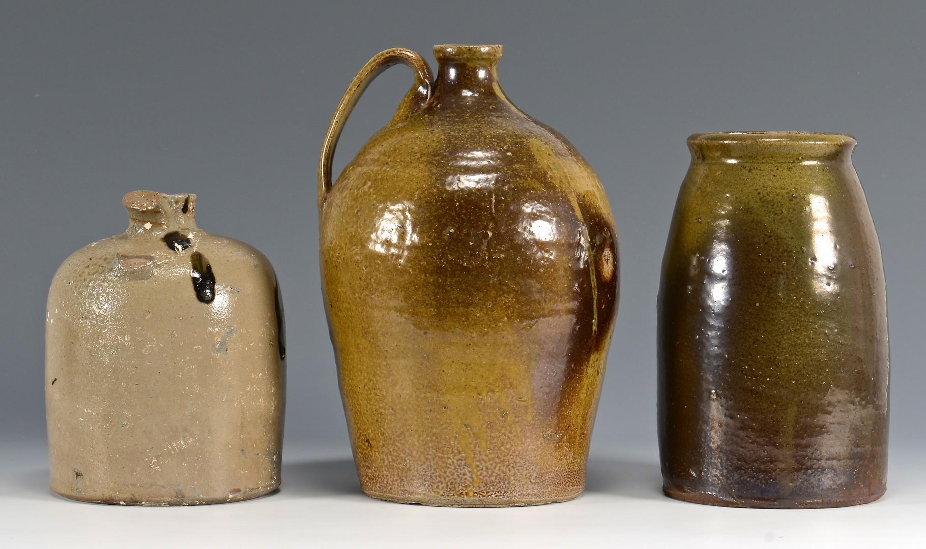 Lot 478: 3 Southern Pottery Forms, Salt Glaze