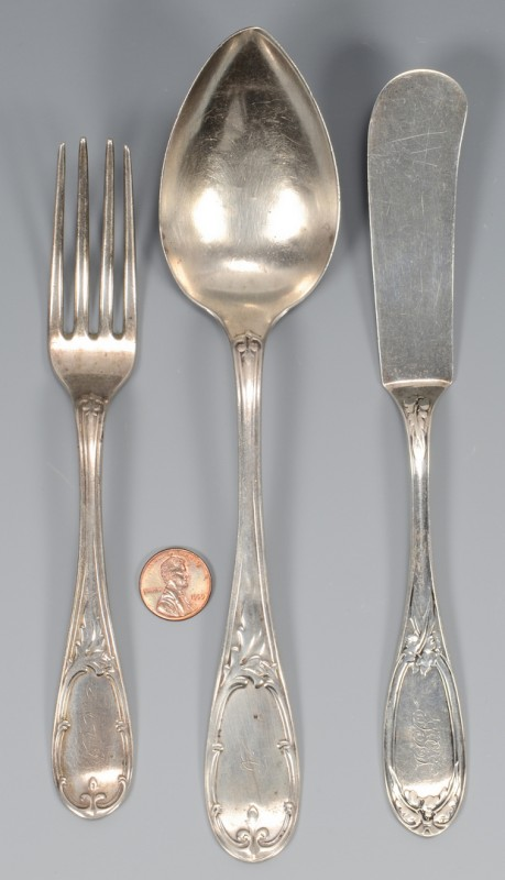 Lot 47: 3 pcs. GA Coin Silver Flatware, A. H. Dewitt