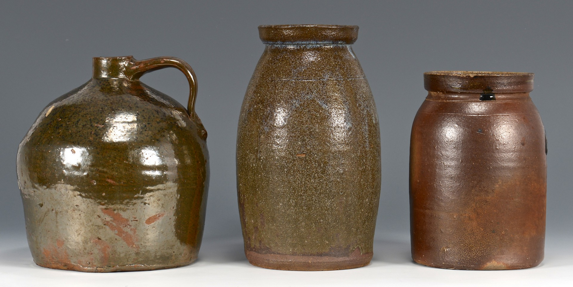 Lot 480: 3 Southern Stoneware Pottery Forms