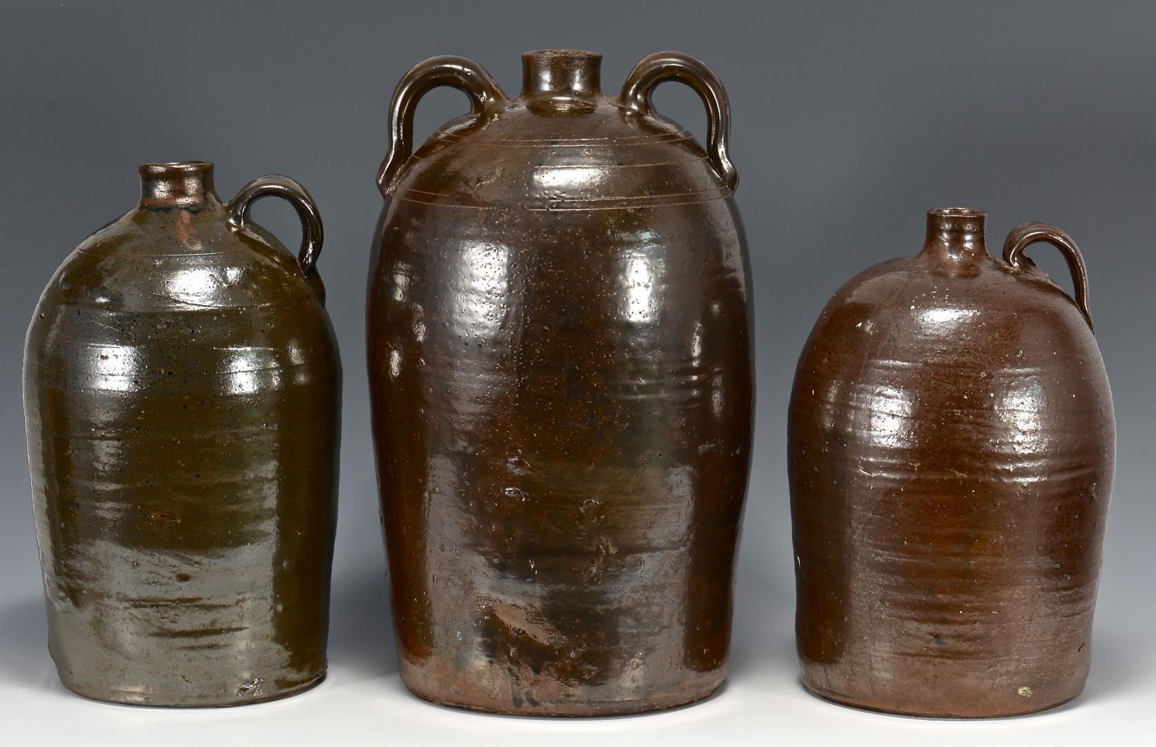 Lot 481: 3 Southern stoneware jugs, prob. GA