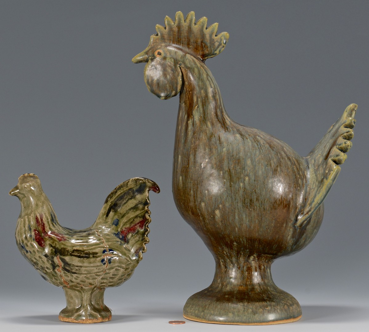 Lot 488: 2 Southern Folk Pottery Roosters, Meaders & Moore