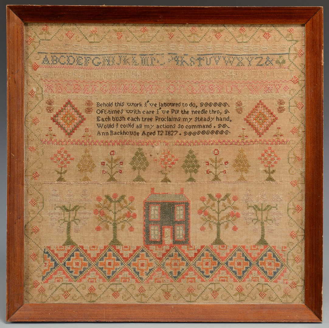 Lot 493: Two Needlework Samplers