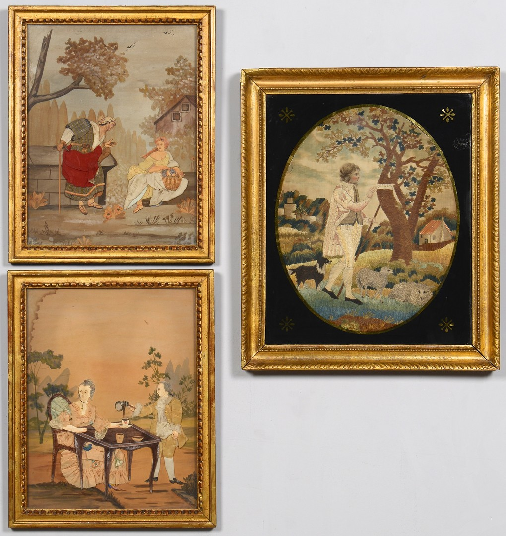 Lot 495: Three 19th c Needlework Pictures