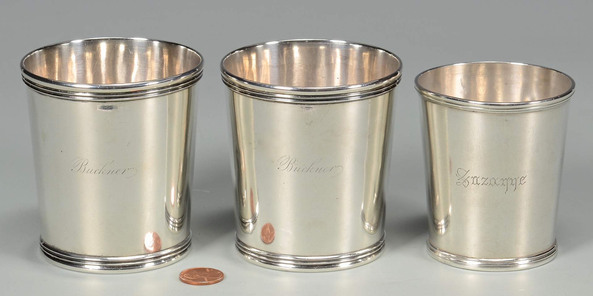 Lot 49: 3 Coin Silver Juleps – Kendrick & Kinsey