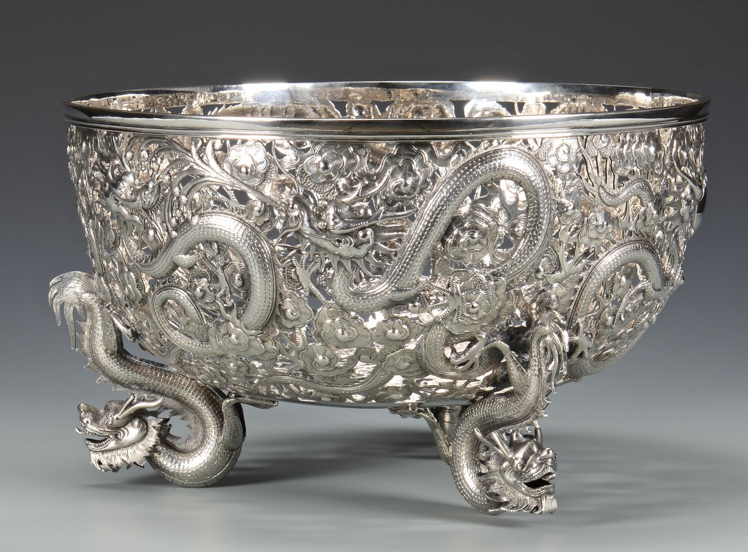 Lot 4 Large Chinese Export Silver Dragon Bowl