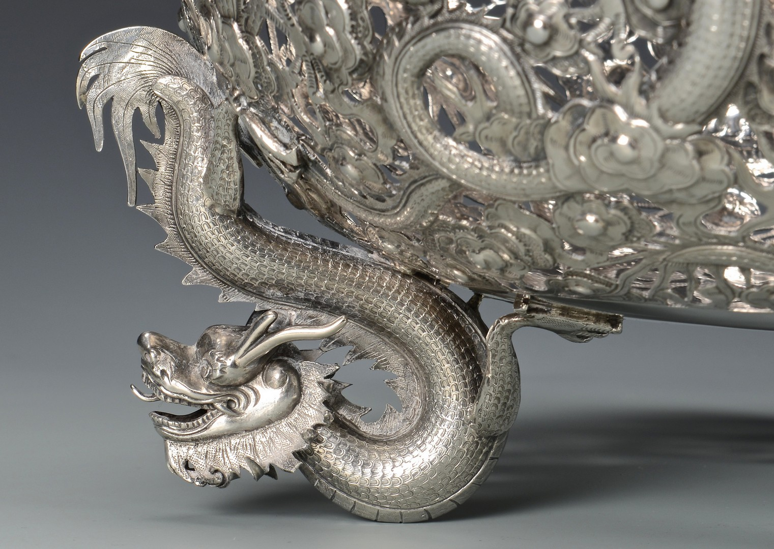 Lot 4: Large Chinese Export Silver Dragon Bowl