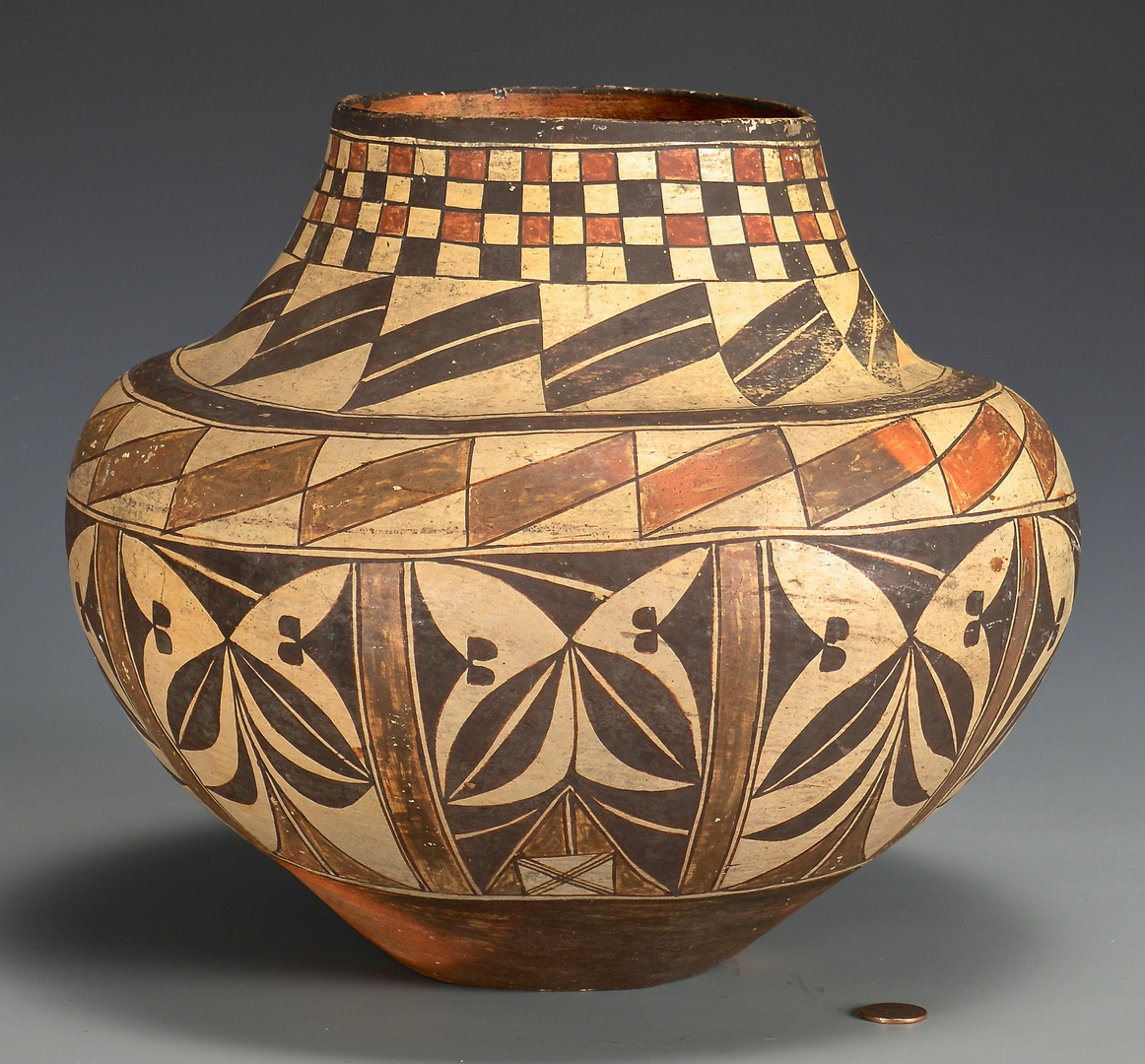 Lot 506 native american pottery jar acoma olla for Paint and pottery