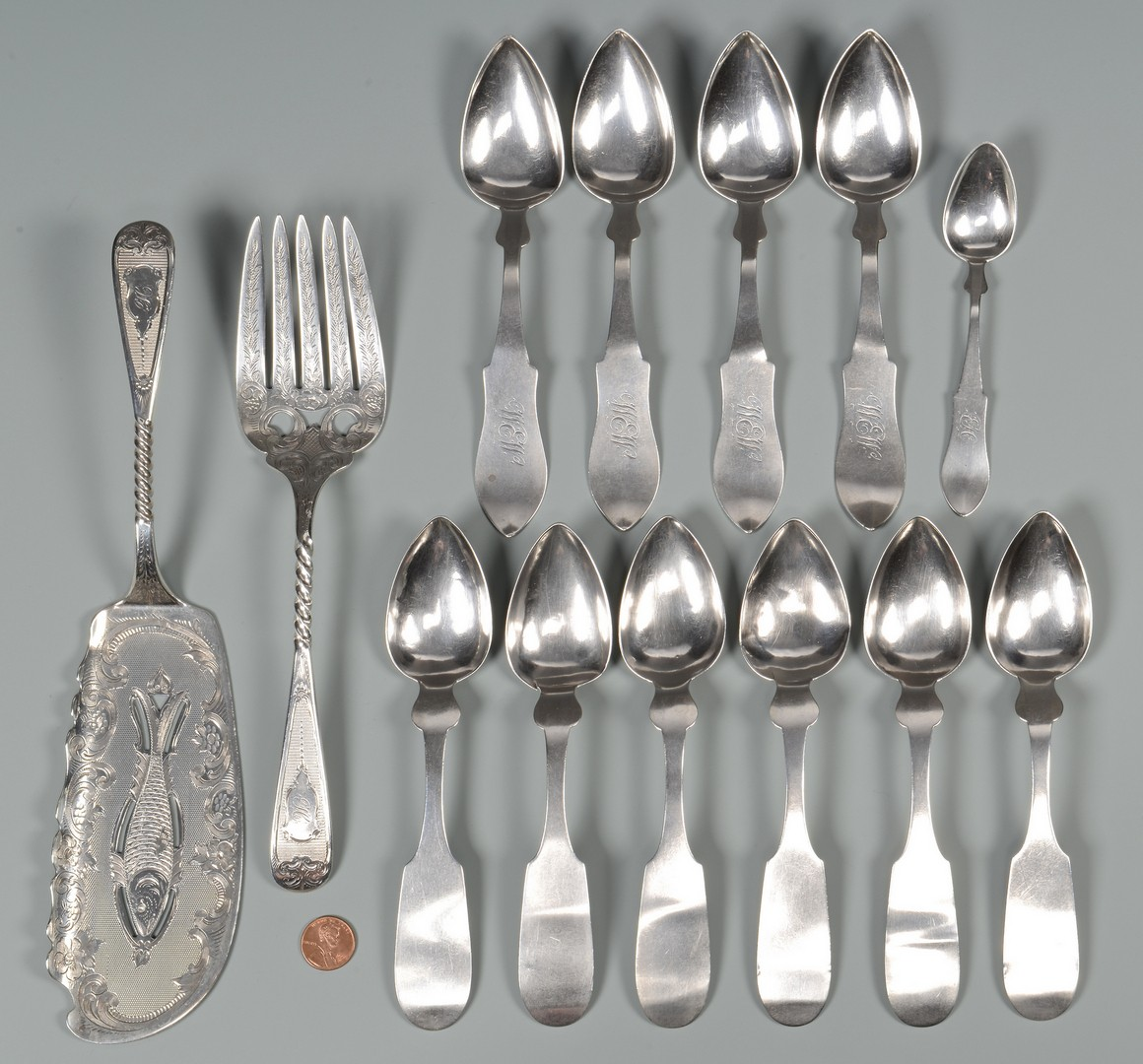 Lot 50: 13 pcs. Kentucky Coin Silver inc. Fish Set