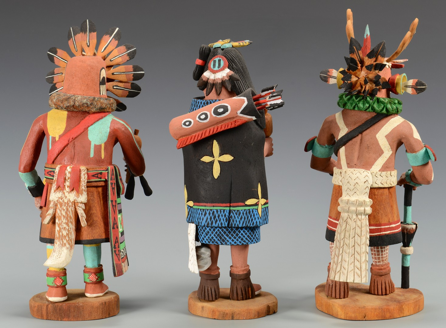 Lot 511: Group of 3 Hopi Kachinas, signed Pat Lanza