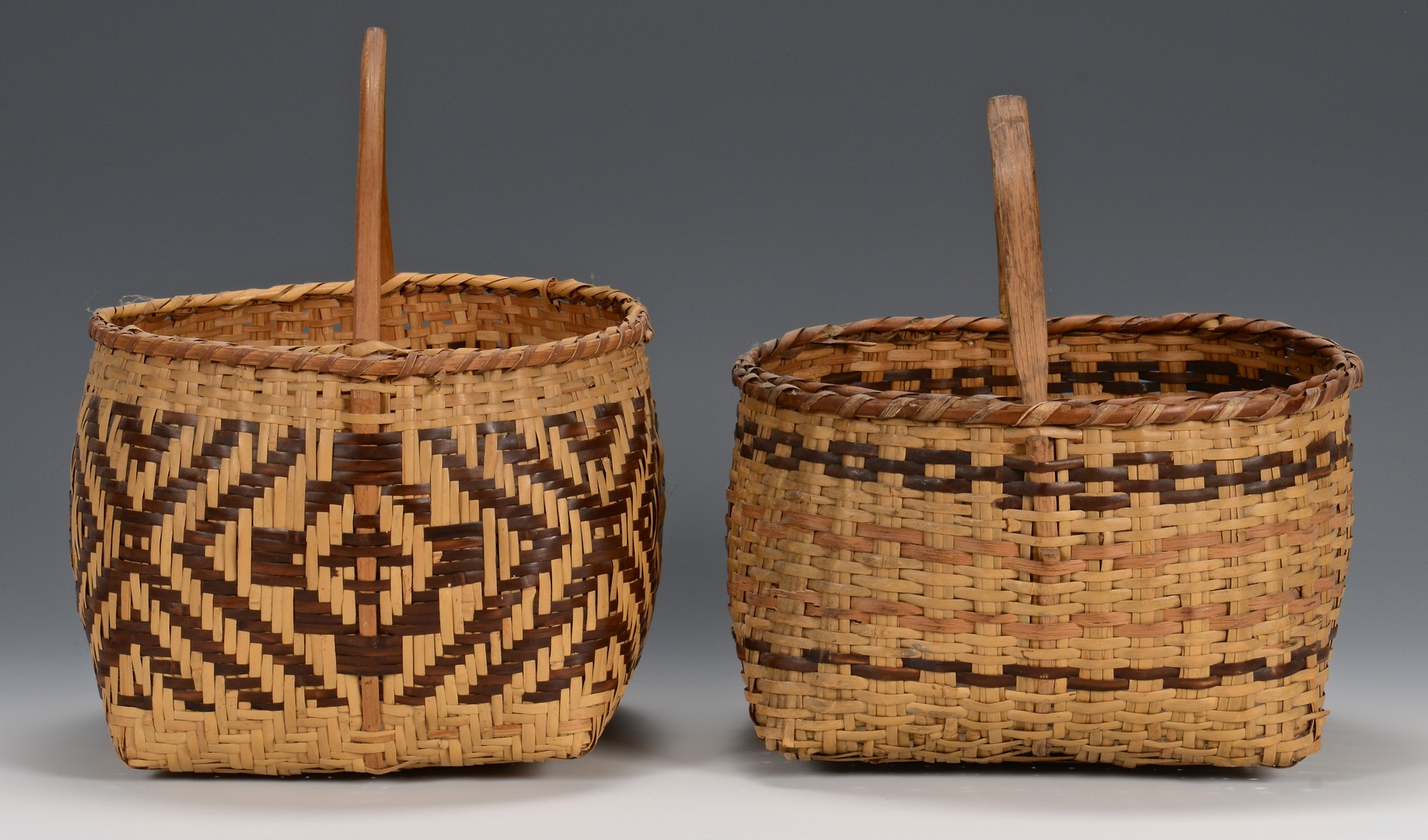 Lot 521: 3 Cherokee River Cane Baskets, 2 w/ handles