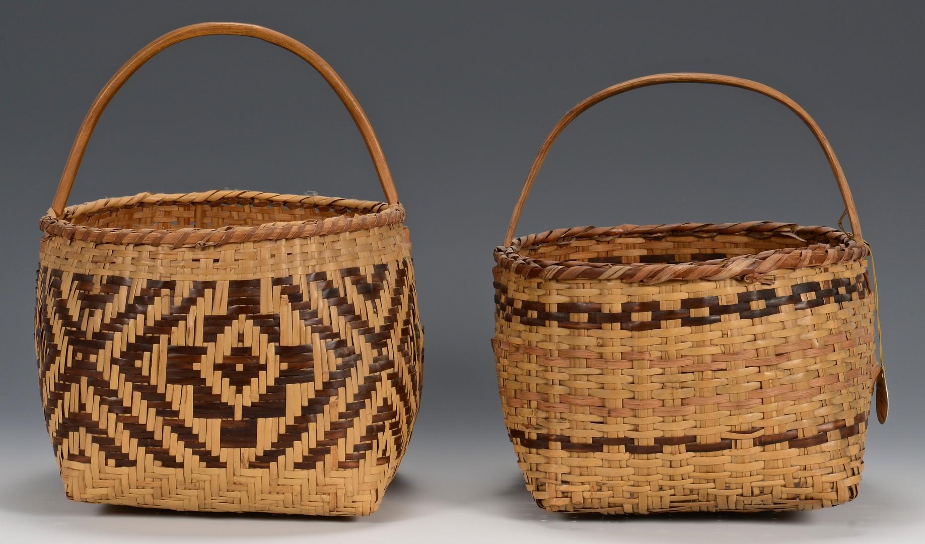 Lot 521: 3 Cherokee River Cane Baskets, 2 w/ handles