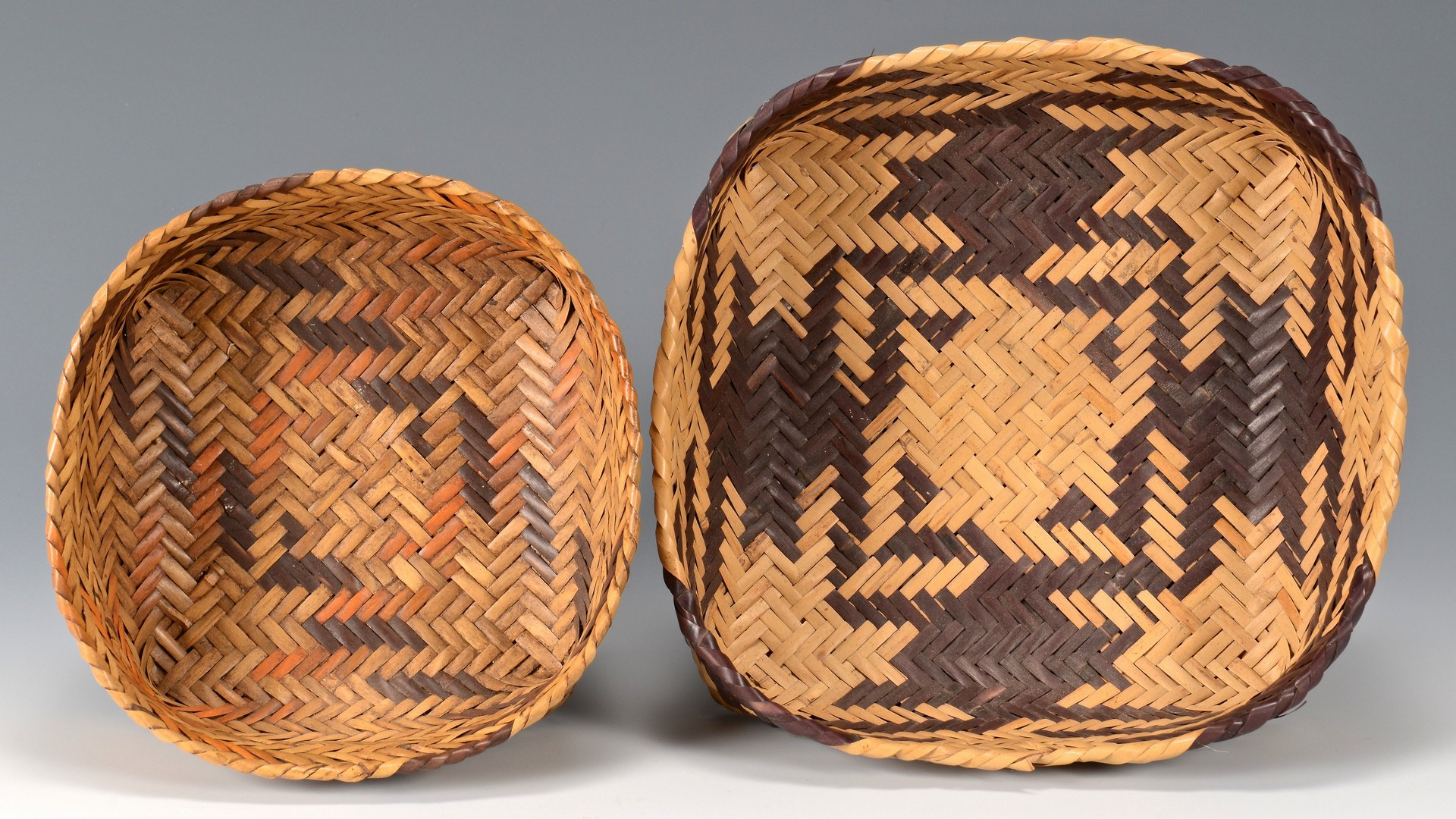 Lot 522: 2 Cherokee Double Weave Cane Baskets