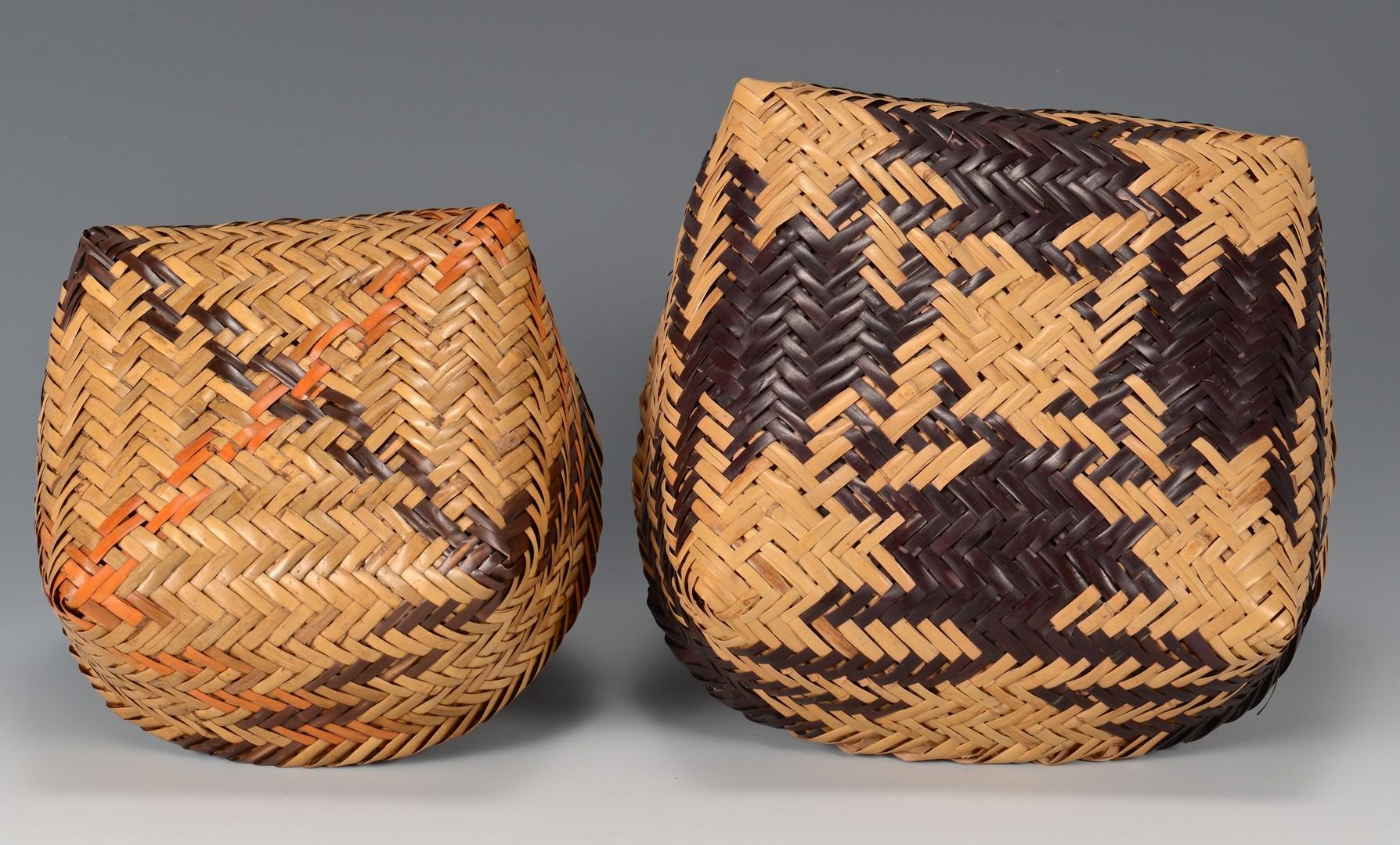 Lot 522: 2 Cherokee Double Weave Cane Baskets