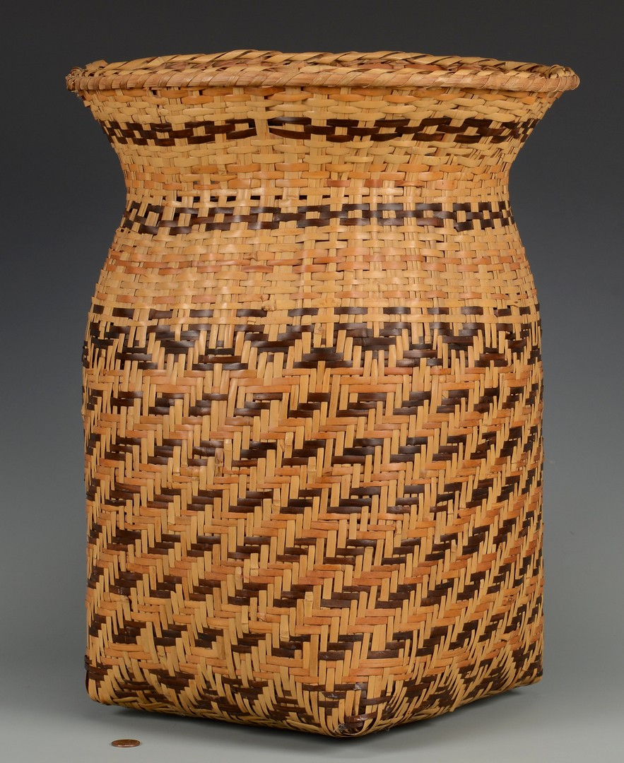 Lot 523: Cherokee Rivercane Basket, Wastebasket form