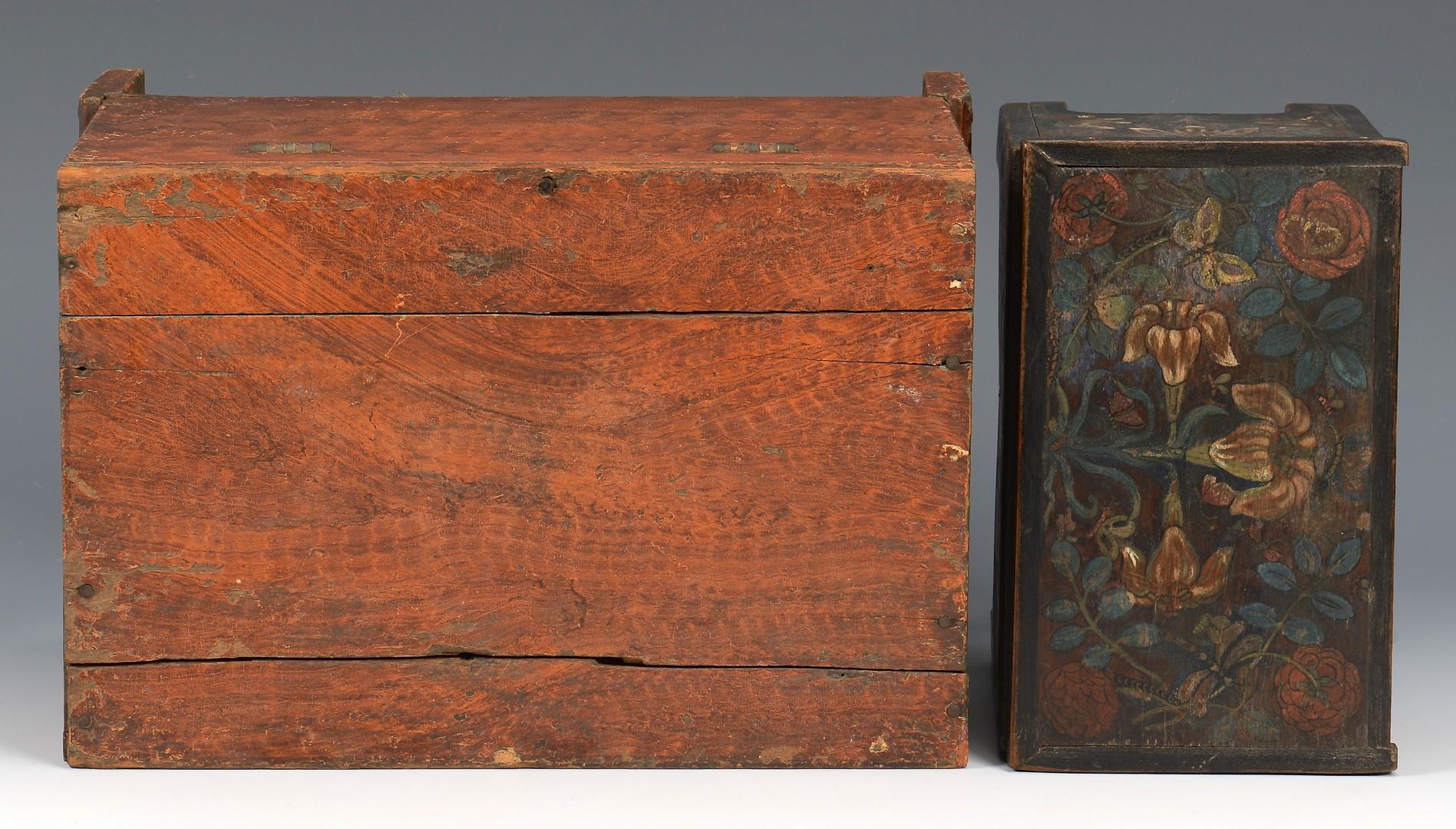 Lot 528: 2 Painted Miniature Boxes, incl. 1 Grain Painted