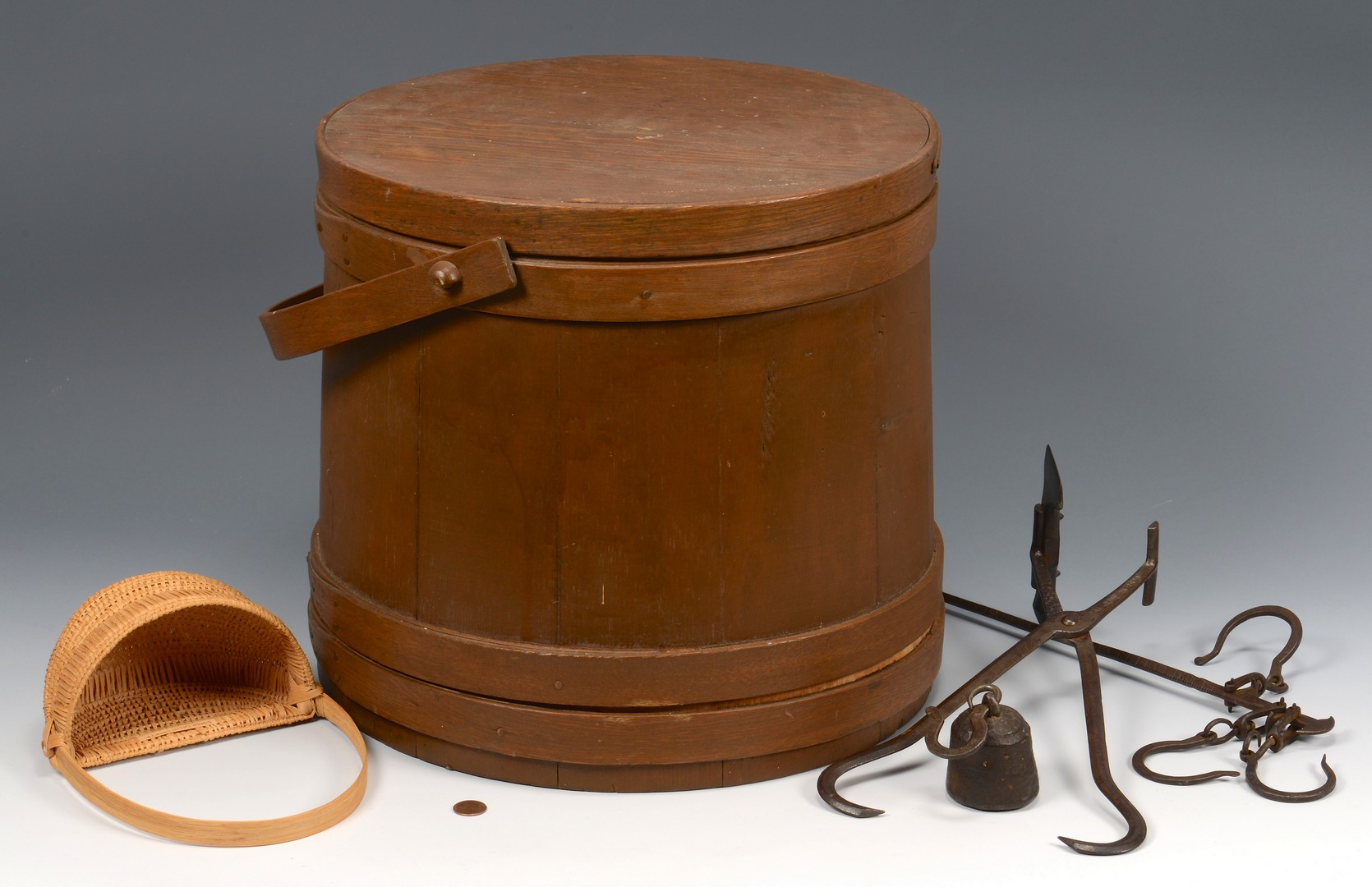Lot 529: Firkin Bucket, Oak Basket, Iron tools