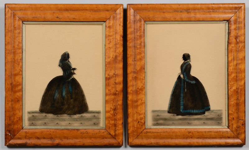 Lot 531: 2 Reverse Silhouette Paintings on Glass