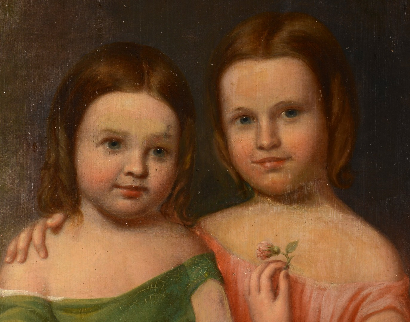 Lot 537: Oval Oil on Portrait of 2 Young Girls w/ Flowers