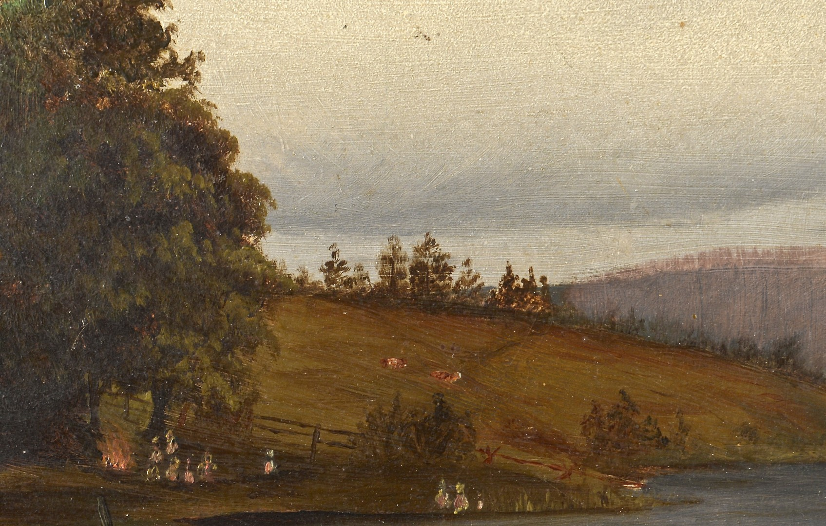Lot 539: Hudson River School Fishing Lake Scene
