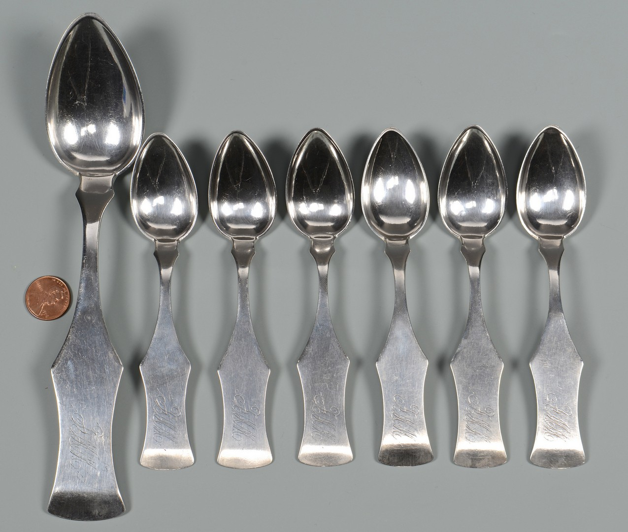 Lot 53: 7 Spears KY Coin Silver Spoons