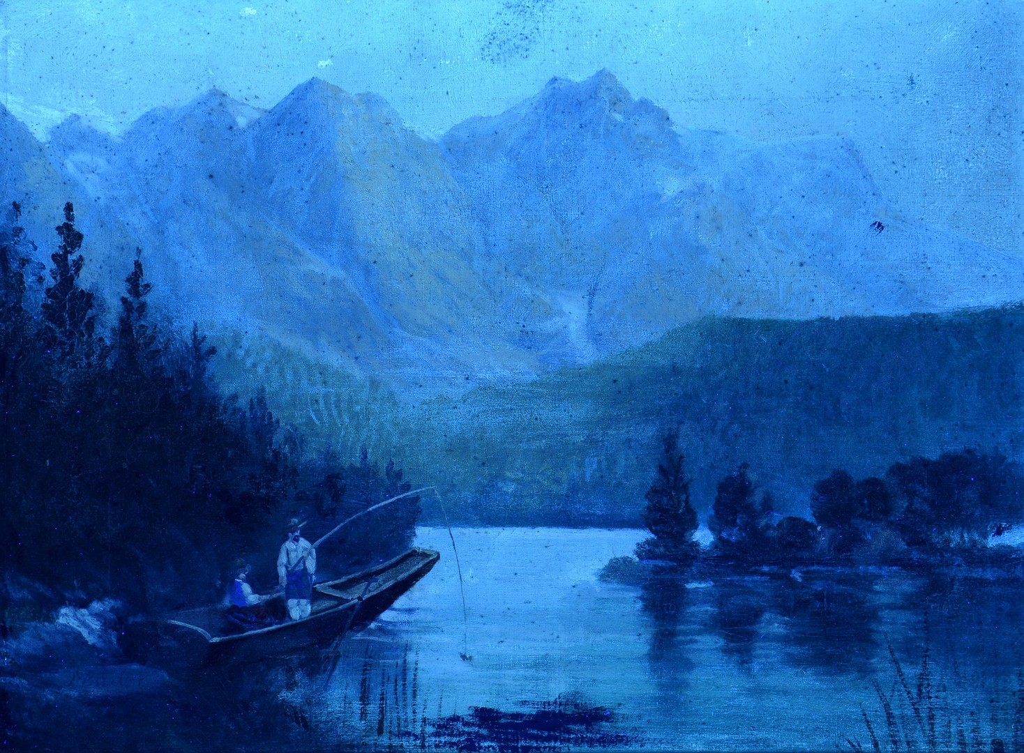 Lot 540: Mountainous Oil Fishing Landscape, Signed Baders
