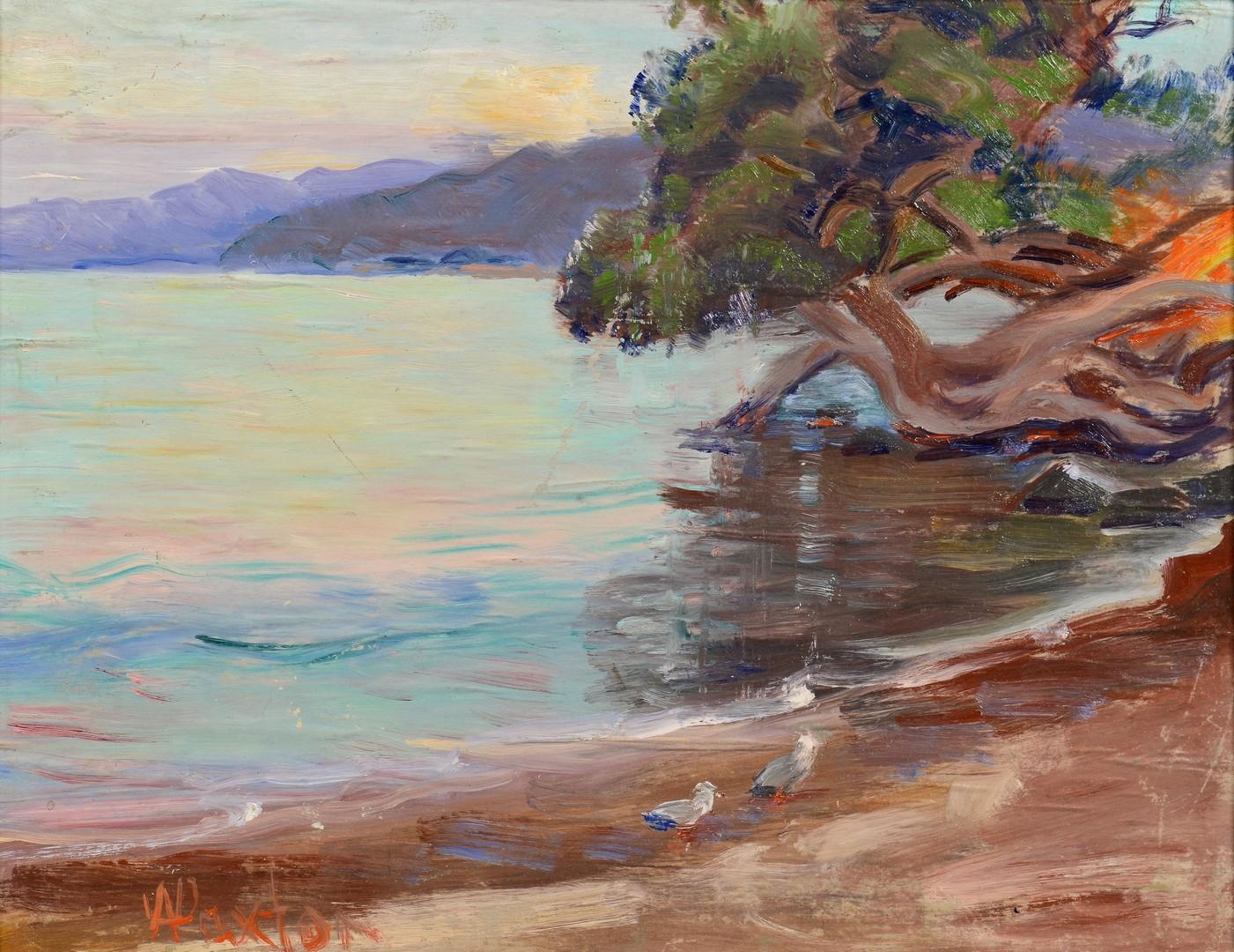 Lot 541: William Paxton Oil on Cloth Lake Scene