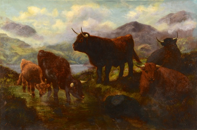 Lot 544: Scottish Oil on Canvas, signed J. S. Fox