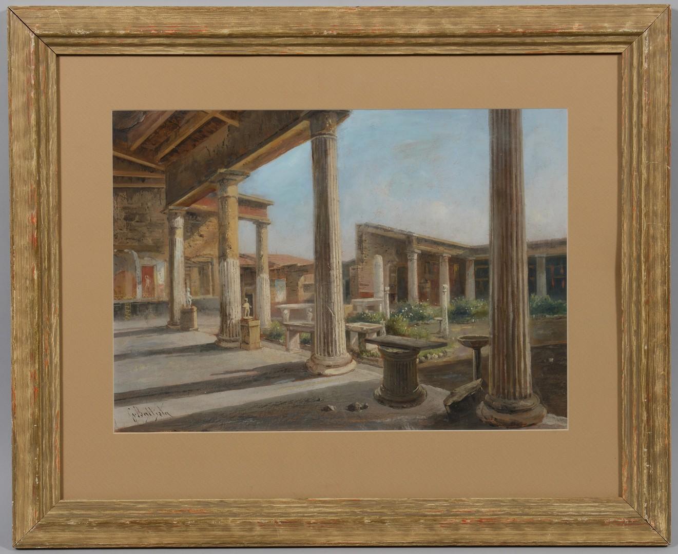 Lot 547: Giovanni Battista watercolor, Pompeii