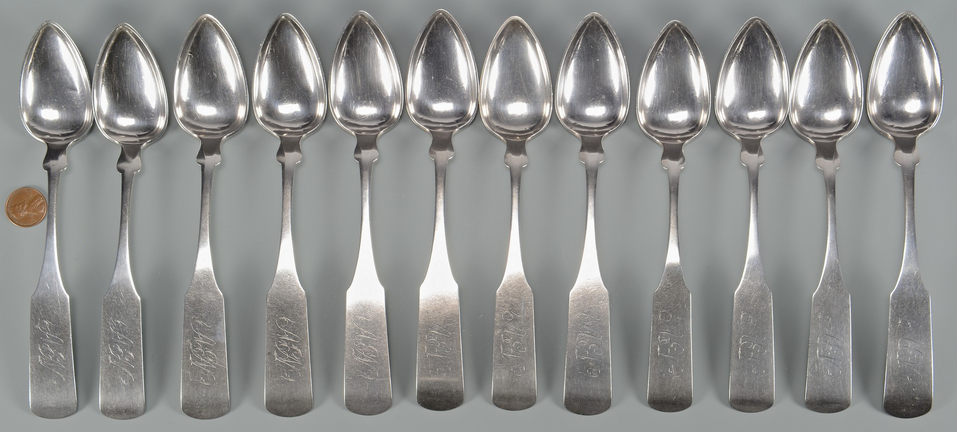 Lot 54: 12 Bell Coin Silver Spoons, Knoxville