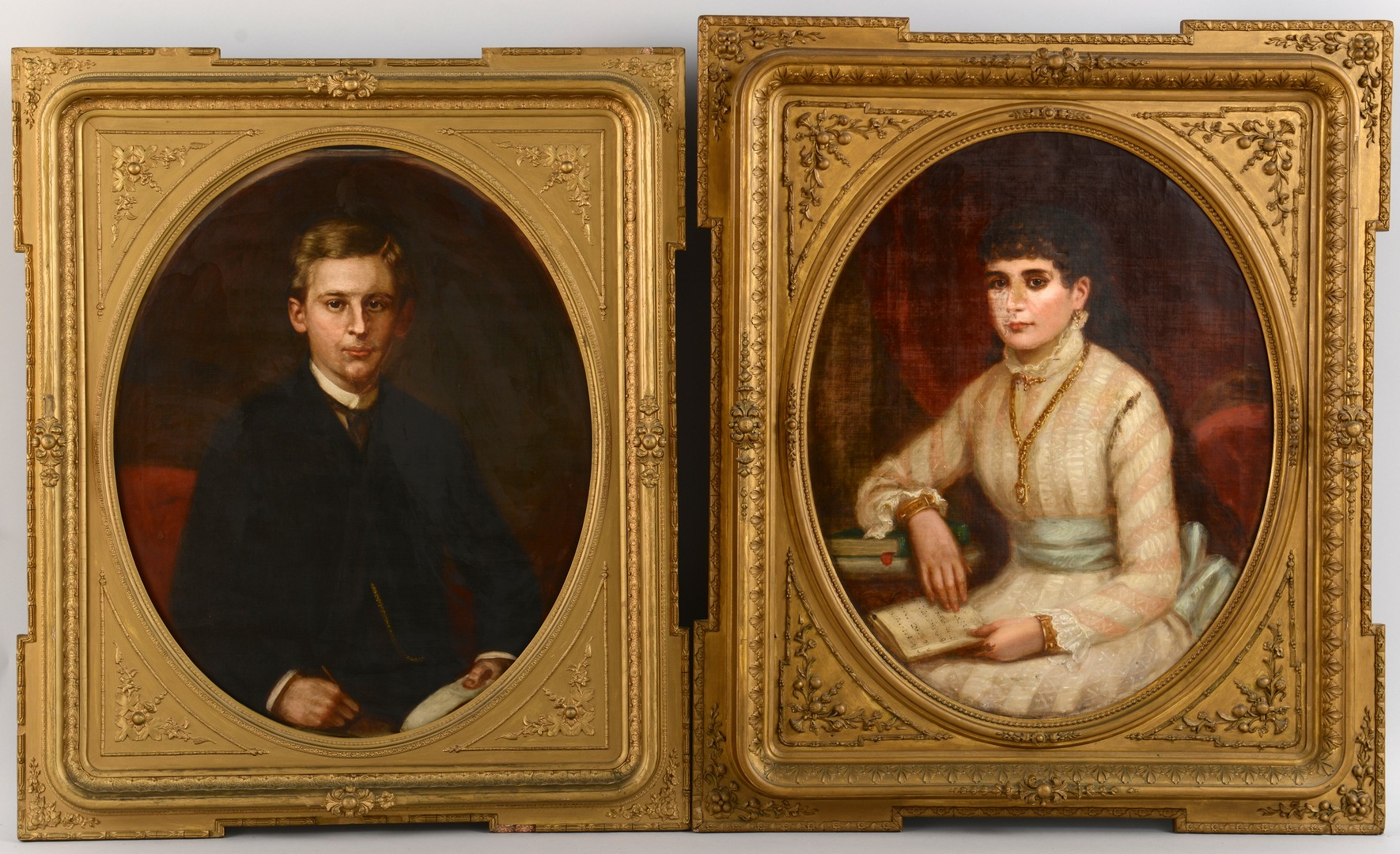 Lot 558: Pair of George Dury Portraits, Tennessee